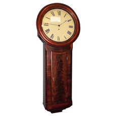"English 8 Day Public or ""Tavern Clock"" in Superb Mahogany Case with Jeweler's Paper Label inside Door !!!"