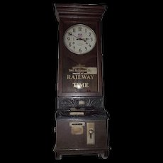 """Large """"Union Pacific"""" Railroad Employee Time-Stamp Clock made by ITR with Fancy Cast Covers & Wood Carved Bracket !!!"""