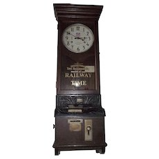 "Large ""Union Pacific"" Railroad Employee Time-Stamp Clock made by ITR with Fancy Cast Covers & Wood Carved Bracket !!!"