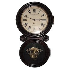 """""""Gustave Luchtenberg Jeweler"""" Advertising Clock from Columbus,Ohio in a Rosewood """"Ionic"""" Model Case with a Deluxe Brass Pendulum Bob & Gold paint decorated Tablet Dated 1881 !!!"""