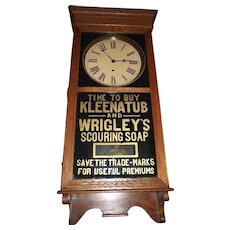 "Rare Advertising "" KLEENATUB & Wrigley's Scouring Soap"" Store Regulator Clock dated 1910 !!!"