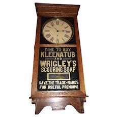 "Rare Advertising "" KLEENATUB & Wrigley's Scouring Soap"" Store Regulator Clock dated 1910 !!!"