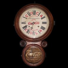 """Rare """"Houston Coca-Cola Bottling Company"""" 8 Day Time & Strike Advertising Clock in an """"Ionic"""" Model Case, circa 1920's !!!"""