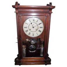 "RARE Seth Thomas ""Lincoln"" Model Solid Walnut Shelf Clock with Deluxe Nickel Plated Weights and Damascened Bob !!! Eight Day Time & Strike Clock Circa 1880."