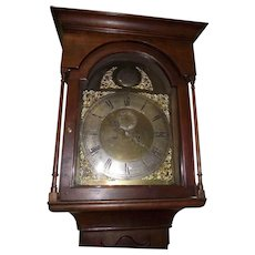 "Pennsylvania Solid Cherry Flat-Top Tall Case Clock with ""Robert Bryson & Sons * Edinberg"" Famous Scottish Clock Movement Circa 1846 !!!"