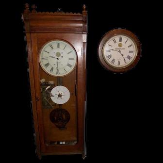 "Historic  PAIR ; ""Virginian Railway Watchman Clock""  E. Howard Model No. 89 Regulator & Gallery Clock from same Bank Office Building in Richmond,Va. !!!"