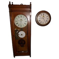 "Massive ""Virginian Railway""  E. Howard Model No. 89 ""Watch Clock"" Regulator in an Early Oak Case circa 1907 !!!"