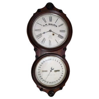 """Impressive Seth Thomas No. 6 Calendar Clock marked """"G.H. Waldin"""" Jeweler's Advertising """"Clocks, Jewelry, Spectacles"""" in a Rosewood Case Circa 1870's !!!"""