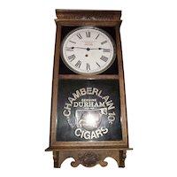 "General Store Advertiser Clock marked ""Chamberlain Cigars"" Oak Case Clock Circa 1920's !!!"