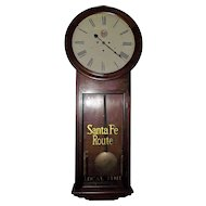"Huge 1869 Model  ""Santa Fe Route"" Railroad Clock in an ""Atkins *30 Day* Extra Regulator"" with 18 inch Dial & Early Rosewood Case !!!"
