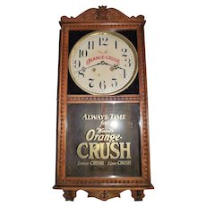 """Ward's Orange Crush"" Advertising Clock made by the Wm. Gilbert Clock Co. in a Golden Oak Case Circa 1920's !!!"
