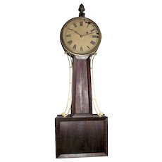 """Signed """"Tifft"""" Pre-Civil War Period Banjo Clock with 8 Day Brass Movement & Original Mahogany Wood Tablet case, pencil dated 1844 on back of Dial  !!!"""