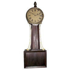 "Signed ""Tift"" Pre-Civil War Period Banjo Clock with 8 Day Brass Movement & Original Mahogany Wood Tablet case, pencil dated 1844 on back of Dial  !!!"