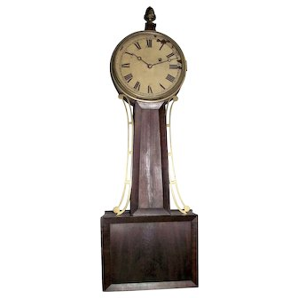 """Signed """"Tift"""" Pre-Civil War Period Banjo Clock with 8 Day Brass Movement & Original Mahogany Wood Tablet case, pencil dated 1844 on back of Dial  !!!"""