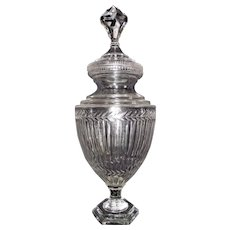 "24 inch ""Apothecary Show Jar"" with Solid Glass Base, Cut Rib & Fern Design, with a Massive Jewel Topped Finial on the Lid, Circa 1900  !!!"