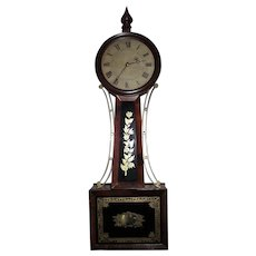 "Excellent Attleboro, Mass. Banjo Clock Signed ""H. Tift"" with 8 Day Brass Movement & Original Mahogany Wood Case & Gold Foil Decorated Tablets !!!"