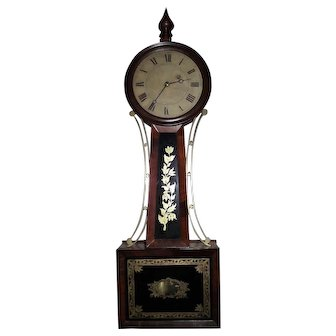 "Excellent Attleboro, Mass. Banjo Clock Signed ""H. Tifft"" with 8 Day Brass Movement & Original Mahogany Wood Case & Gold Foil Decorated Tablets !!!"