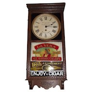 """La Vera Havana Cigars"" on Advertising Clock lower Glass with ""Frederick's Trading Post"" on the Dial Circa 1920's !!!"