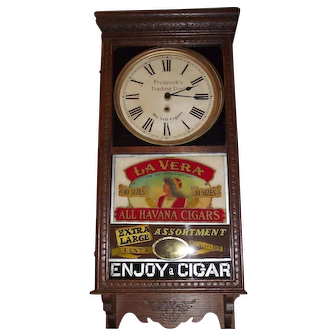 """""""La Vera Havana Cigars"""" on Advertising Clock lower Glass with """"Frederick's Trading Post"""" on the Dial Circa 1920's !!!"""