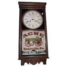 "Advertising ""ACME Wagons"" Standard Store Regulator Clock with 8 Day Time & Strike Movement made Circa 1920 !!!"