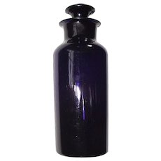 Cobalt Blue Blown Glass Apothecary Jar & Stopper Circa 1860 !