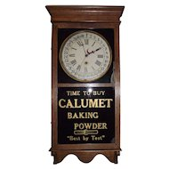 """Calumet Baking Powder"" Store Advertising Regulator Clock with Calendar Day of Month !!!"
