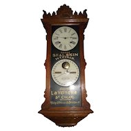 "Ultra Rare ""Seal Skin Cigars""  Ithaca Double Dial  Hanging ""Index Advertising  Oak"" Model Clock with 8 Day Time & Hourly Strike, Circa 1890 !!!"