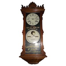 "Ultra Rare ""Seal Skin Cigars""  Ithaca Double Dial  Hanging ""Index Advertising  Oak"" Model with 8 Time & Hourly Strike, Circa 1890 !!!"