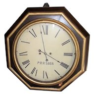 """A """"Pennsylvania Railroad"""" Museum Piece, with Rare Wagon Spring Movement, in an Atkins 30 Day Gallery Clock with 18 inch Dial Circa 1850 !!!"""