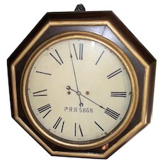 "A ""Pennsylvania Railroad"" Museum Piece, with Rare Wagon Spring Movement, in an Atkins 30 Day Gallery Clock with 18 inch Dial Circa 1850 !!!"