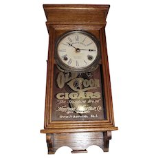 """Small Size """"Old Coon Cigars"""" Advertising Clock in a refinished Golden Oak Case !!! Circa 1929-1940."""