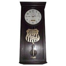 "Union Pacific Railroad Clock marked ""U.P. 1347"" Weight Driven Seth Thomas No. 4 Regulator with Solid Mahogany Case & Original Finish Circa 1920 !!"