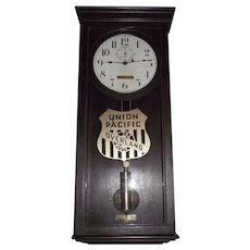 "Union Pacific Railroad Clock marked ""U.P. 1347"" Weight Driven Seth Thomas No. 4 Regulator with Solid Mahogany Case & Original Finish Circa 1920 !!"
