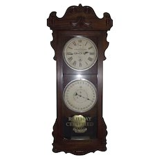 "Historic ""Baltimore & Ohio Railroad * Jessup Station"" Double Dial 30 Day Calendar, New Haven Clock Co. ""Rutland"" Model with Rare Mahogany Case Circa 1914 !!!"