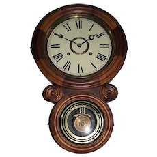 "Rare ""Ionic"" Model Wall Regulator in ""Mosaic"" Style Case, done by alternating Walnut & Maple Mixed Woods Circa 1870's !!!"