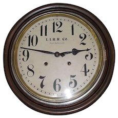 "Rare ""Long Island Railroad Co."" Walnut Gallery Clock Circa 1910's !"