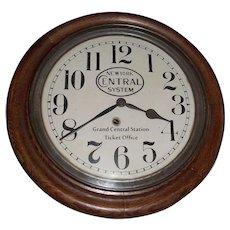 """Rare """"New York Central"""" Railroad Gallery Clock in a Walnut Case Circa 1910's !"""