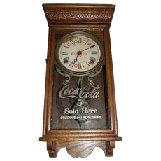 "Salesman Sample Size ""Coca Cola"" Store Time & Hourly Strike Advertising Clock Circa 1930 !"