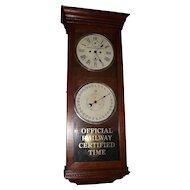 "Historic B. & O Railroad ""Engineering Dept. * Baltimore, Maryland"" Double Dial 30 Day Calendar Clock in a New Haven Oak Case Circa 1920 !!!"