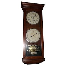 "Historic B. & O Railroad ""Engineering Dept. * Baltimore, Maryland"" Double Dial 30 Day Calendar Clock in a New Haven Oak Case Circa 1920 !!!"