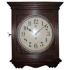 "Pennsylvania Railroad ""Penn Station Ticket Office * Baltimore"" marked on a 12 inch Dial, in an Ansonia made Solid Oak Gallery Clock !"