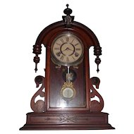"""KROEBER   """"Parisian"""" Model Clock Circa 1875  with Walnut Case,  Deluxe Glass Bob, with an 8-Day Time & Strike Hourly Bell !"""