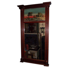 Circa 1820's to 1840s Gilt Pier Mahogany Mirror with Reverse Paint & Gold Foil Decorated top Glass Tablet  !!!