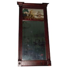 "Circa 1820's to 1840s American Walnut Pier Mirror with Reverse Paint & Gold Foil Decorated ""Overseas Commerce Theme"" on top Glass Tablet  !!!"