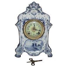 "Ansonia ""Royal Bonn * DELFT"" Model China Clock with Porcelain Dial Circa 1890 !"