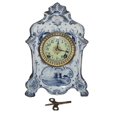 "Ansonia ""Royal Bonn * DELFT"" Model China Clock with Porcelain Dial Circa 1890 !"