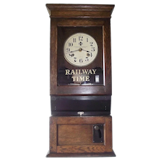"""Santa Fe Railroad"" Employee Time Punch-Card Clock Circa 1910 to 1919 !!!"