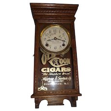 "Original ""Old Coon Cigars"" Small Advertising Clock in a Professionally Refinished Solid Oak Case circa 1920's !"
