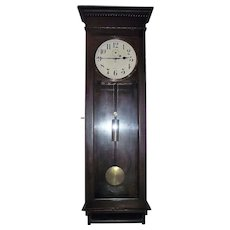 """Solid Mahogany LONG Wall Regulator """"Stanton"""" Model made by the """"New Haven Clock Co."""" circa 1911 !!!"""