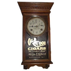 """Original """"Old Coon Cigars"""" Small Advertising Clock in a Professionally Refinished Solid Oak Case circa 1920-1929 !"""